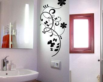 Flower Wall Decal Cute Vinyl Sticker Home Arts Floral Wall Decals Swirl  WT045
