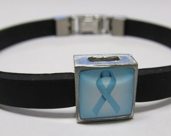Ovarian Cancer Awareness Teal Ribbon Link With Choice Of Colored Band LinkFund Bracelet
