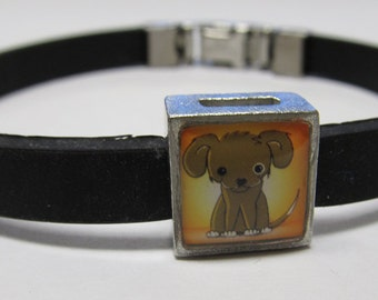 Cute Cartoon Doggy Link With Choice Of Colored Band Charm Bracelet
