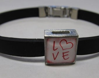 Vintage Love Heart Link With Choice Of Colored Band Charm Bracelet