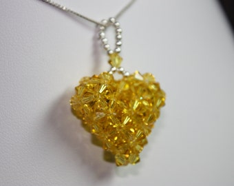 Woven Swarovski Heart Pendant Yellow, Light Topaz, with chain, available in custom colors