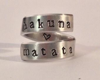 Hakuna Matata - Adjustable Aluminum Wrap Ring - Heart Inside