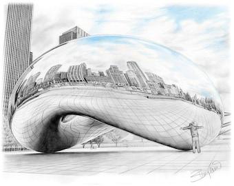"""Chicago Bean Sculpture Millenium Park Cloudgate Pencil Drawing - 11x14"""""""