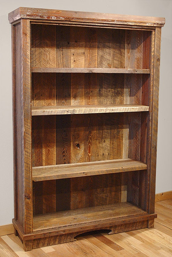 Old Wood Bookcases ~ Reclaimed barn wood rustic heritage bookcase