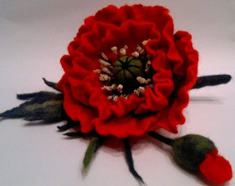 Felted Poppy Brooch, Hand Felted Jewelry, Red Flower