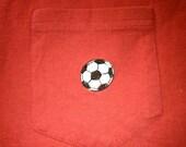 SALE Adult Medium T-shirt Pocket Soccer Ball Red Shirt Football Ready to Ship