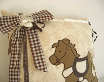 Rocking horse decorative accent throw pillow cover,case - Neutral brown natural cottage romantic lace shabby chic nursery kids room decor