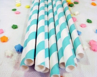 25 Aqua Striped Paper Drinking Party Straws