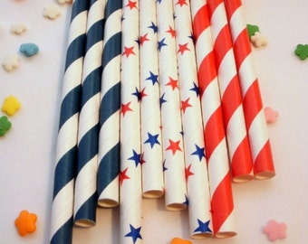 25 Red White and Blue Patriotic Paper Straws