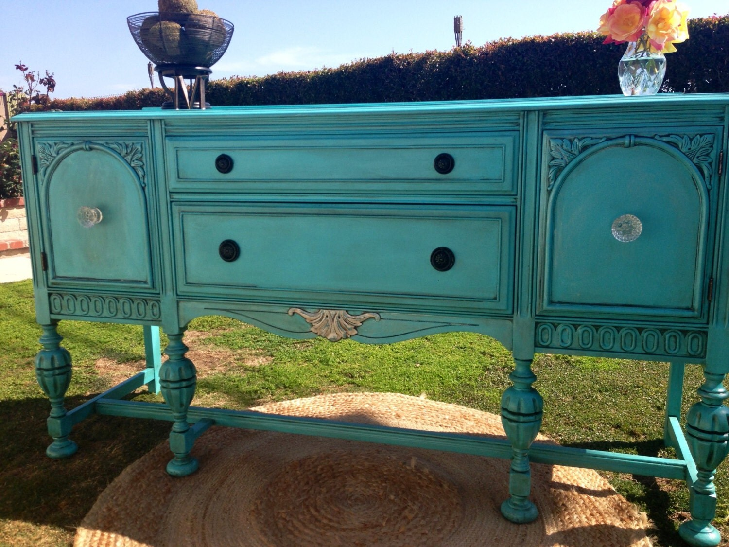 Painted buffet table furniture -  Hand Painted Vintage Buffet Table Zoom