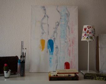 """Original Abstract painting - Acrylic & Ink painting - 19,7"""" (50cm) x 27,6"""" (70cm)"""
