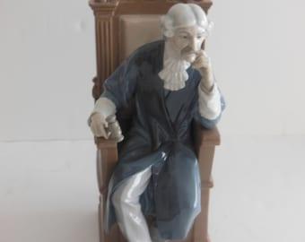 "ON SALE - Lladro porcelain figurines, ""JUDGE"" Issued 1974, retired 1978"