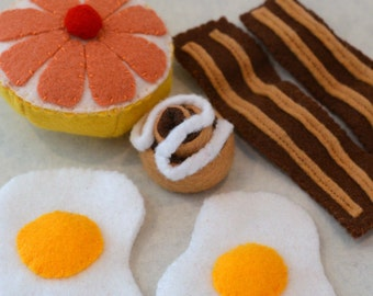 Felt Food Breakfast Fried Eggs, Bacon, Grapefruit, Cinnamon Roll Children's Play Food
