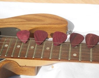Five Purpleheart Wooden Guitar Picks