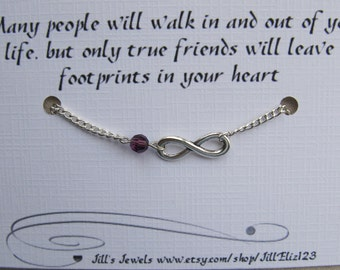 Best Friend Infinity Charm Bracelet a Crystal and Friendship Quote Inspirational Card- Bridesmaids Gift - Best Friends - BFF Bracelet