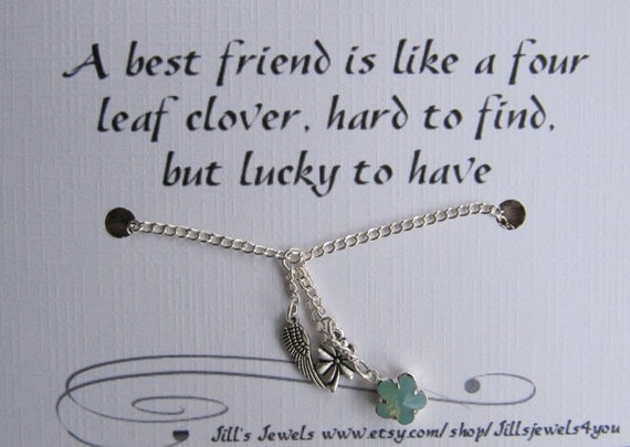 Inspirational Quotes About Death Of A Best Friend Image: Best Friend Lucky Charm Necklace And Friendship Quote