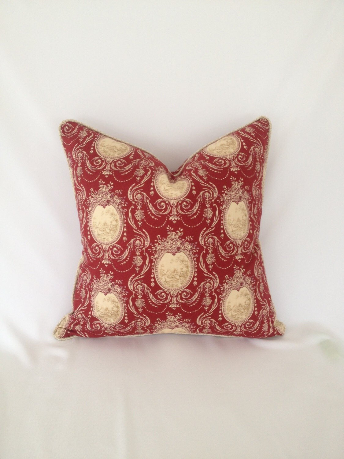 Red And Cream Toile Pillow Cover