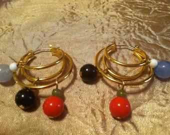 FUN Gold Tone Beaded Pierced Earrings