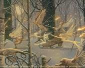 "WINTER PROCESSION (Unframed 36""x18"" Giclée Print)  Fairy Art / Faery Art  by David Delamare"