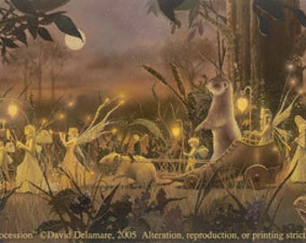 "SUMMER PROCESSION (Unframed 36""x18"" Giclée Print) Fairy Art / Faery Art  by David Delamare"