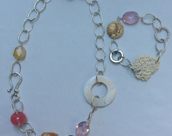 Changeling - silver plate, glass and gemstone, connectable necklace and bracelet, ocean theme. 117