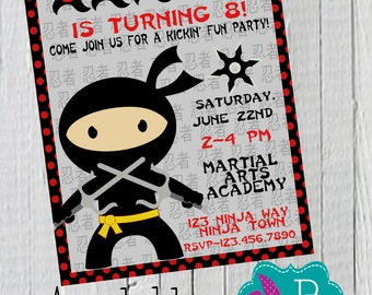 Ninja Birthday Invitation Printable- 4x6 or 5x7
