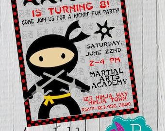 Ninja Birthday Invitation Printable- 4x6 or 5x7