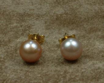 Pink Akoya Pearl Earrings 7.5 mm