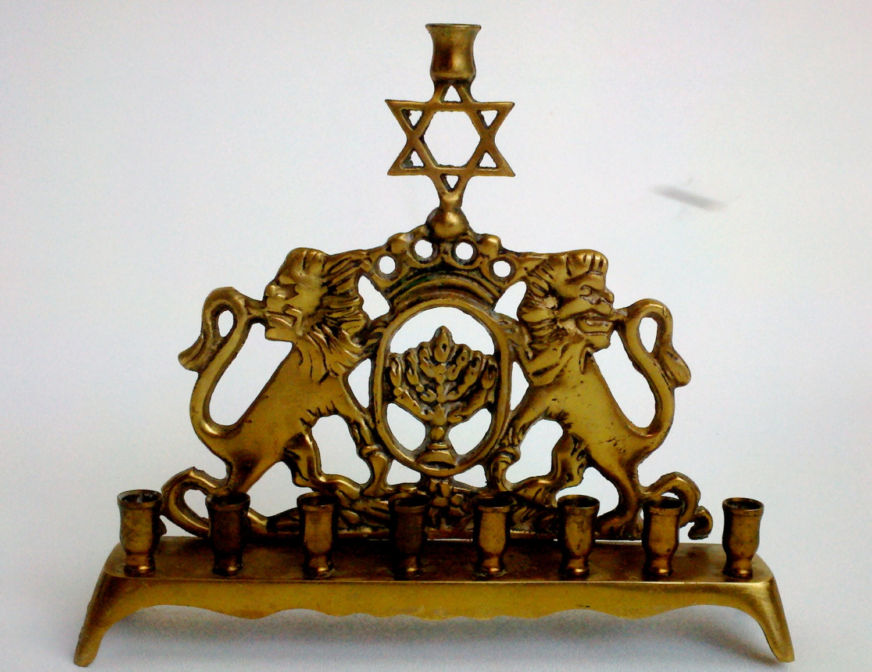 Antique Brass Chanuakah Menorah Eastern European Bench Style