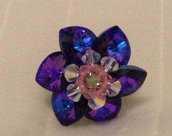 Purple Flower Ring with stretchy band