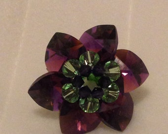 Amethyst Flower Ring with Stretchy Band