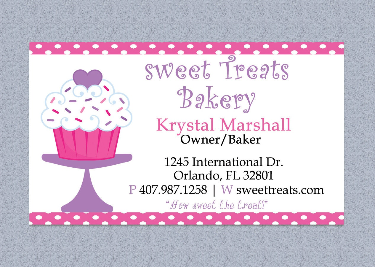 Polka Dot Bakery Business Card Design Editable By MyDIYDesigns