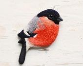 Bullfinch . bird . brooch . animal . hand-embroidered . felt .