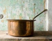Vintage Copper Saucepan, Old World Turkish Copper, Made in Turkey, Copper and Brass Saucepan, Rustic Kitchen - NostalgicWarehouse