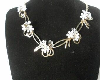 Vintage 1950's Metal Flower Necklace,  Retro Blue Enamel Floral Necklace