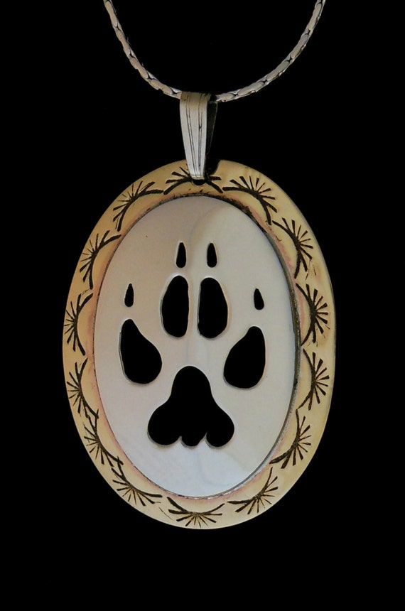 Silver Paw Cavachons: Wolf Paw Sterling Silver/brass Pendant Handmade Handcrafted