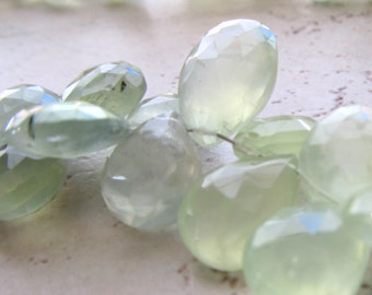 Spring Green Prehnite Faceted Teardrop Briolette Beads 12 X 8mm - 8 inch Strand - Lime Green Gemstone Briolettes
