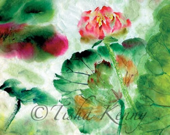Lotus I Asian Brush Painting on Rice Paper hand made card printed on fine linen paper.