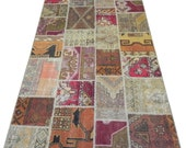 5x8 Ft (152x245 cm) Multicolor Patchwork Rug,  Handmade from Recycled Vintage Oriental Rugs, All Original Undyed, Custom Sizes, REF:DK-Y