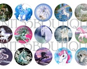 """UNICORN 1"""" circle collage sheet2 (15 imgs.) download and print from home High Quality Bottle Caps"""