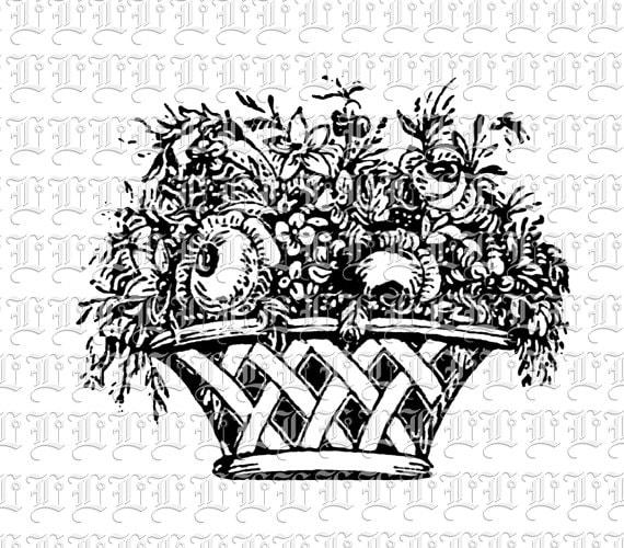 Black And White Gift Basket Clip Art In basket vintage clip art