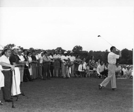 Golf - Ed Sullivan tees off, Ben Hogan looks on, June 1954 - GO-04