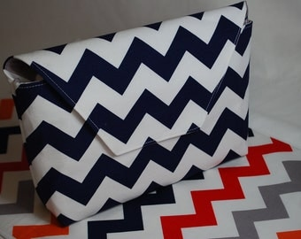 Riley Blake Chevron in Navy & Multi - Grab 'N Go Diaper Bag with Changing Mat