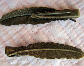 Boho Barrett Clip Feather Hair Accessories two brass feather Hairclips Barretts Flower hair accessories vintage inspired