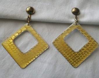 Vintage Hanging Clip On Yellow design Retro Square Earrings