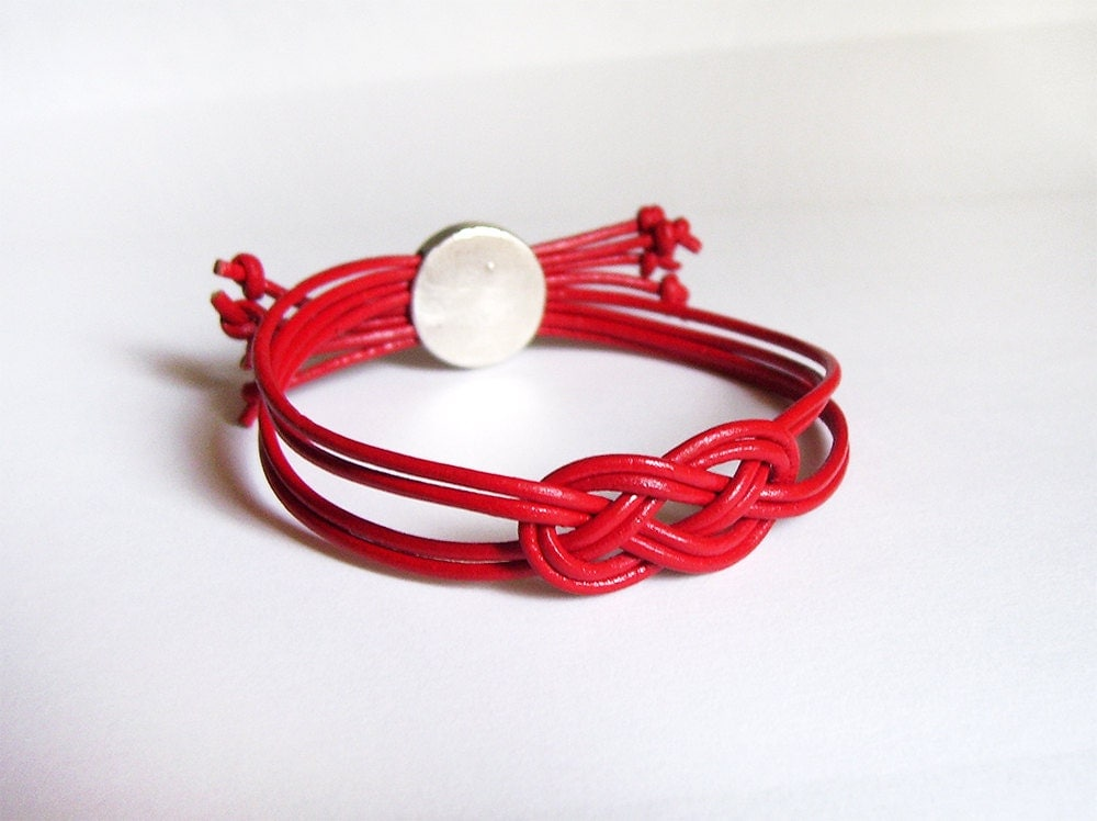 Red Leather Bracelet Womens Cuff Bangle Infinity Celtic Knot
