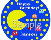 Pac-Man Personalized Stickers, Nintendo Birthday Personalized Labels Size 2.25""