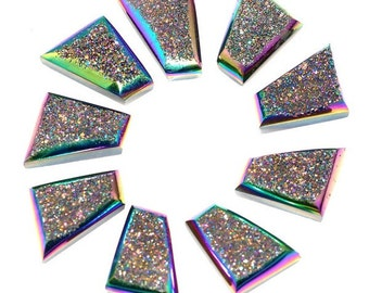 Sparkling Grade AAA 2 Pieces Rainbow Titanium trapezoid Calibrated Druzy Agate Cabochon 13x16mm B69DR8501