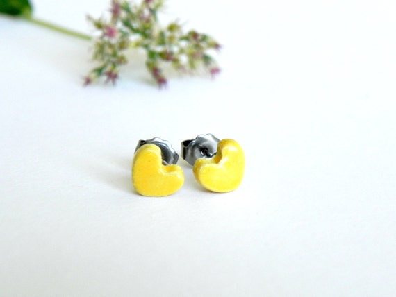 Yellow Heart Ceramic Stud Earrings