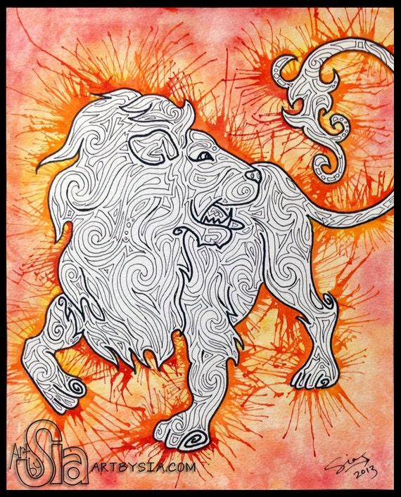 Watercolor Zentangle Lion Original By Certainshadeoforange